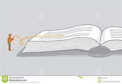 understanding illustration small man reading between the lines interpreting a book stock vector illustration 48477881