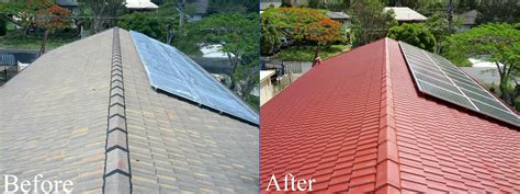 spray painting roof tiles concrete tile roof restorations brisbane roof restorations