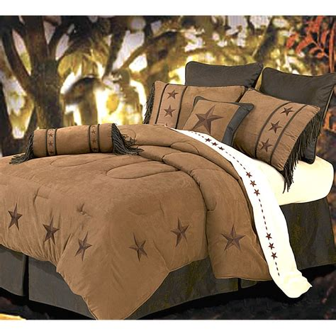 laredo star embroidery dark tan luxury comforter set full