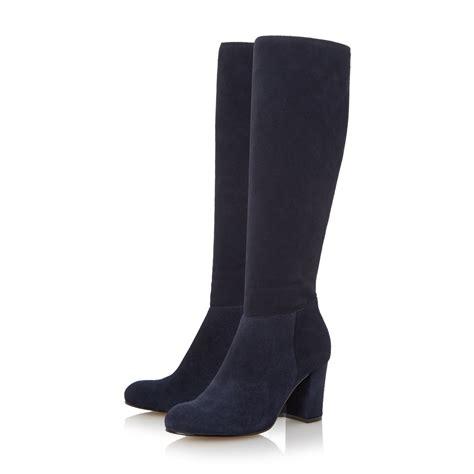 knee high suede boots heel dune toulon knee high block heel suede boot in blue navy