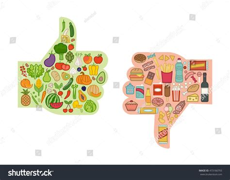 vegetables vs junk food healthy fresh vegetables unhealthy junk food stock vector
