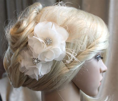 hair flower clip bridal wedding flower girl tulle silk silk organza flowers hair clip for wedding reception bridal