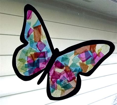 Tissue Paper Butterfly Craft - all snug as a bug stained glass butterfly