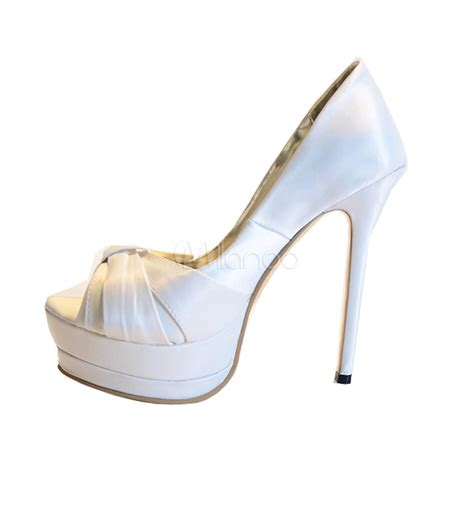 white satin high heels white silk and satin peep toe high heels milanoo