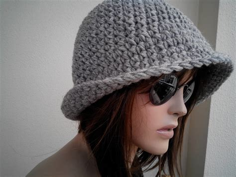 womens fedora hat chunky knit slouchy gray beanie slouch