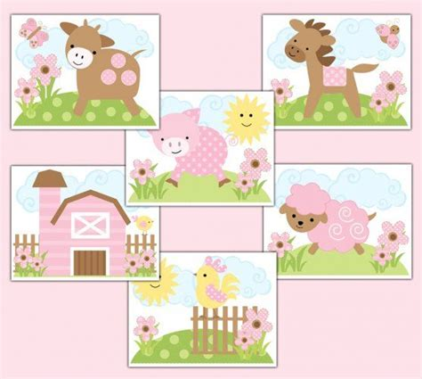 Farm Animal Nursery Decor Farm Animal Prints Pink Barnyard Baby Nursery Wall Decor Childrens Bedroom Room