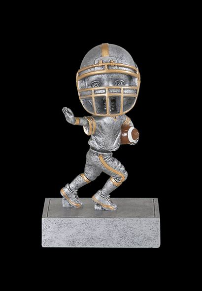 bobblehead football trophy 5 5 quot silver resin football bobblehead