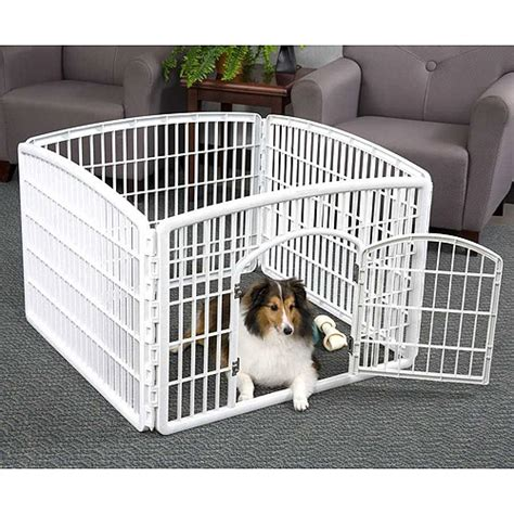 indoor puppy playpen iris 4 panel indoor outdoor pet pen containment w35 quot xl35 quot xh24 quot white walmart