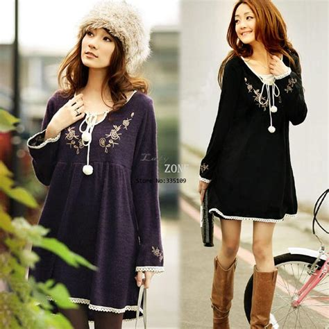 Dress Navy Fashion Wanita Dress Wanita fashion vintage embroidery laciness decoration sleeve knitted dress one maternity