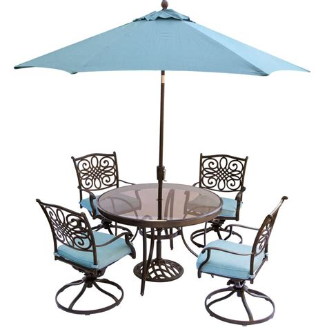 Patio Table Chairs Umbrella Set by Hanover Traditions 5 Outdoor Dining Set With
