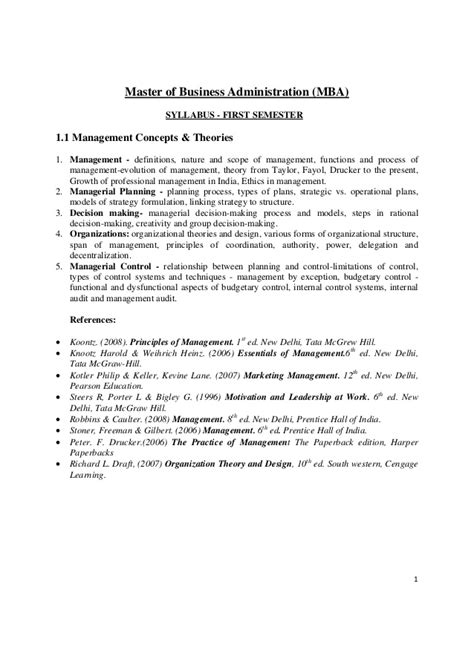 Mba In Relations Syllabus by Mba Syllabus Of Of Mysore 1st Semester