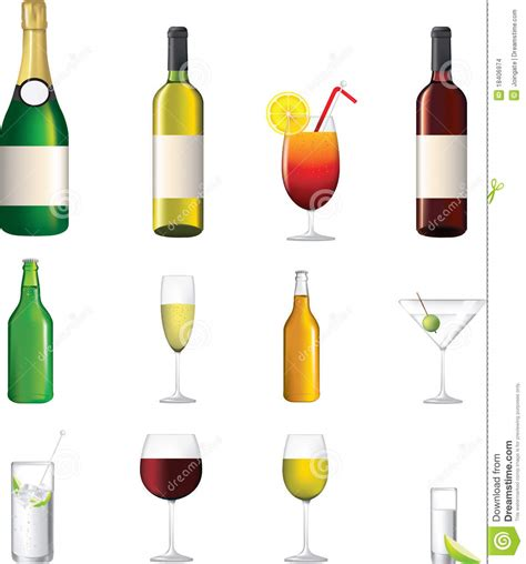 alcohol vector detailed icon of different alcoholic drinks stock vector