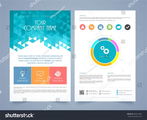 two page brochure template creative two page business flyer template stock vector