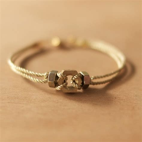 Handmade Thread Bracelets - handmade hex nut with gold metal thread bracelet