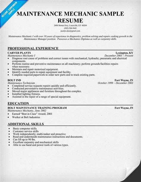 maintenance technician resume sles 1000 images about resume on resume exles