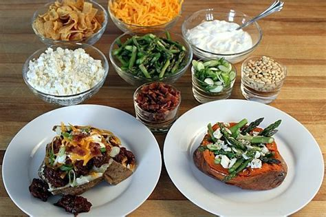 potato bar toppings baked potato bar table buffet and party ideas pinterest