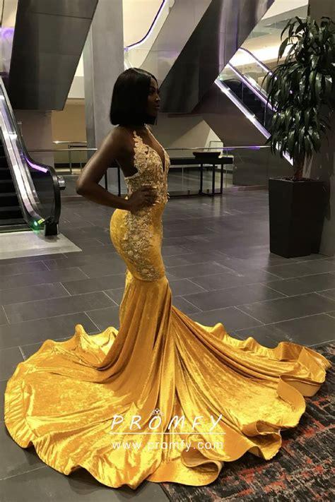 gorgeous yellow velvet long train mermaid african american