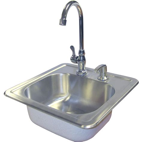 cal stainless steel sink with faucet and soap