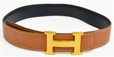 hermes brown leather belt gold tone h buckle spain