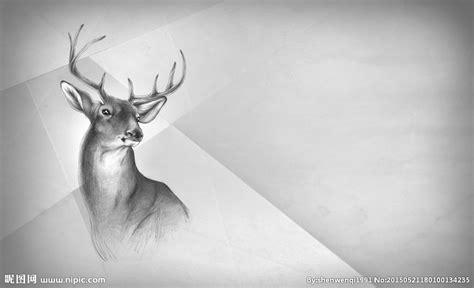 black and white drawing wallpaper 手绘鹿背景图设计图 野生动物 生物世界 设计图库 昵图网nipic com
