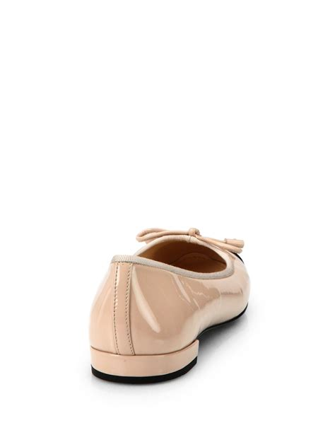 prada flat shoes prada patent leather cap toe ballet flats in black lyst