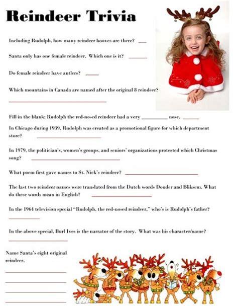 printable reindeer trivia reindeer trivia game sheet