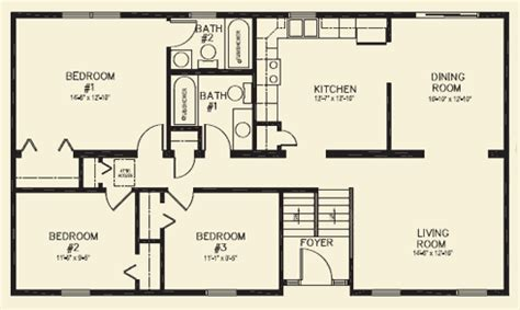 3 Bedroom 2 Bathroom House Plans by Ranch Homes Floor Plans