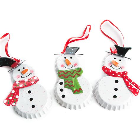 bottle cap snowman ornament christmas ornaments