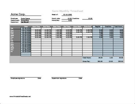 Semi monthly Timesheet (horizontal orientation) with