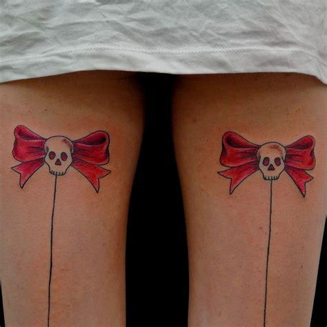 bow tattoos on legs skull bow tattoos on legs
