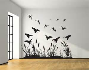 Grass Wall Stickers landing mallard wetland ducks wall decal silhouettes living