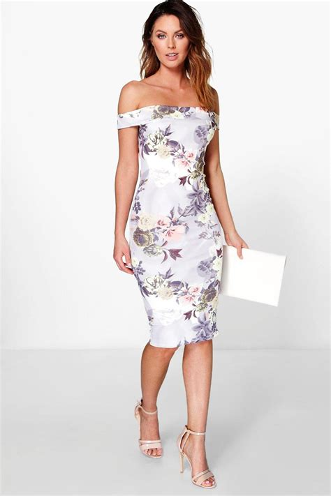 Dress Midi Flower boohoo womens bridgie the shoulder floral midi dress ebay