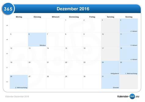 Kalender 2016 Dez Kalender Dezember 2016