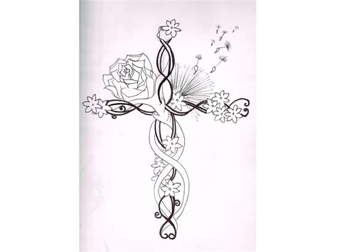 unique cross tattoo designs i like the flowers with the unique cross not a