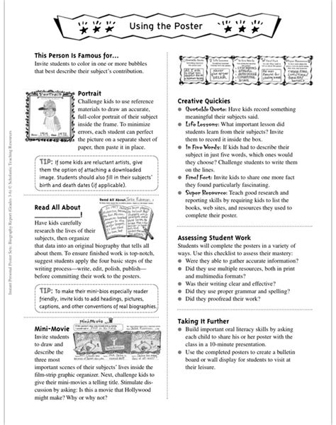biography graphic organizer scholastic instant personal poster sets biography report by
