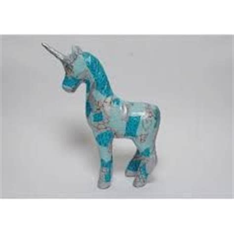 Papier Mache Animals For Decoupage - papier mache unicorn decorated with decopatch paper