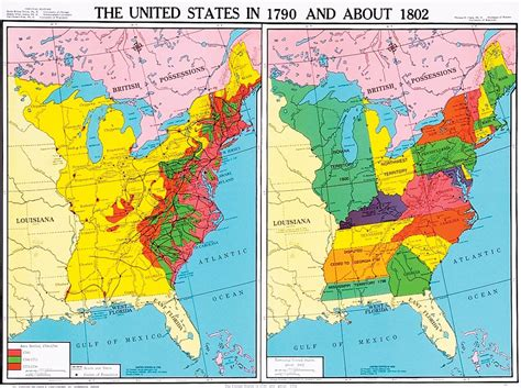 United States in 1790 and About 1802, U.S. History Map