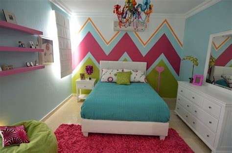 exceptional Curtains For Teenage Girl Bedroom #4: Colorful-Teen-Girls-Chevron-Bedroom-modern-room-decor-ideas.jpg