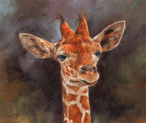 imagenes de jirafas al oleo giraffe painting by david stribbling