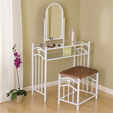 coaster glossy white metal makeup vanity table set with