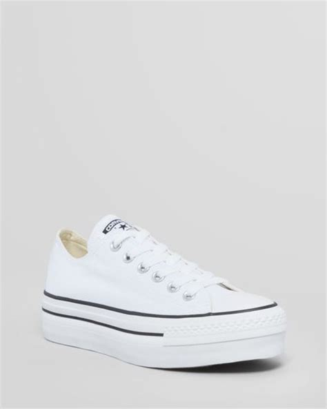 converse platform sneakers converse lace up platform sneakers all in white lyst