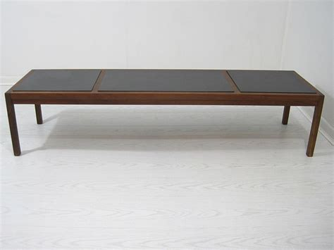 mid century slate tile top coffee table bench midcentury