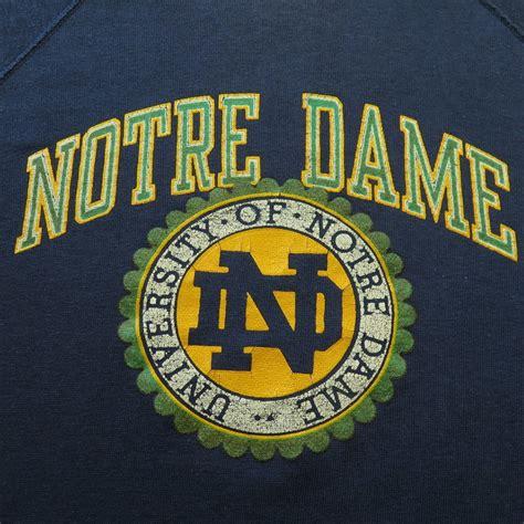 of notre dame colors blue vintage 70s notre dame chion blue bar sweatshirt l