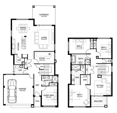 two floor house plans storey 4 bedroom house designs perth apg homes