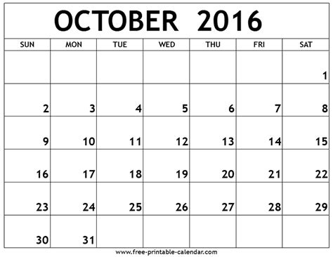 october calendar template october calendar 2016 printable