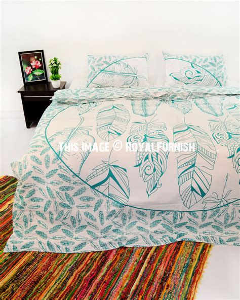 Green And White Duvet Cover Green And White Multi Summer Feathers Cotton Duvet Cover