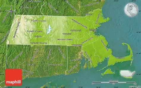 massachusetts physical map physical map of massachusetts satellite outside