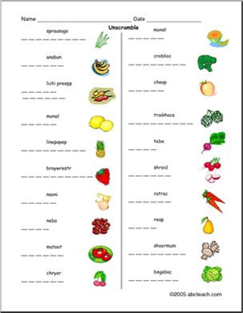 fruit unscramble unscramble the words fruit and vegetable vocabulary esl