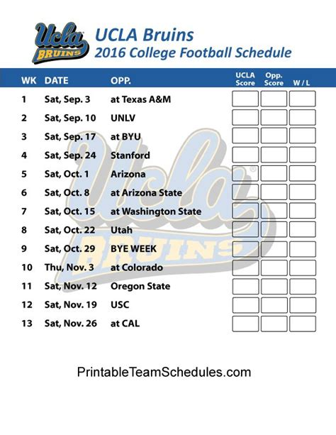 printable bruins schedule 1000 images about pac 12 football schedule 2016 on