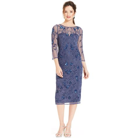 beaded dresses patra three quarter sleeve beaded illusion dress in blue